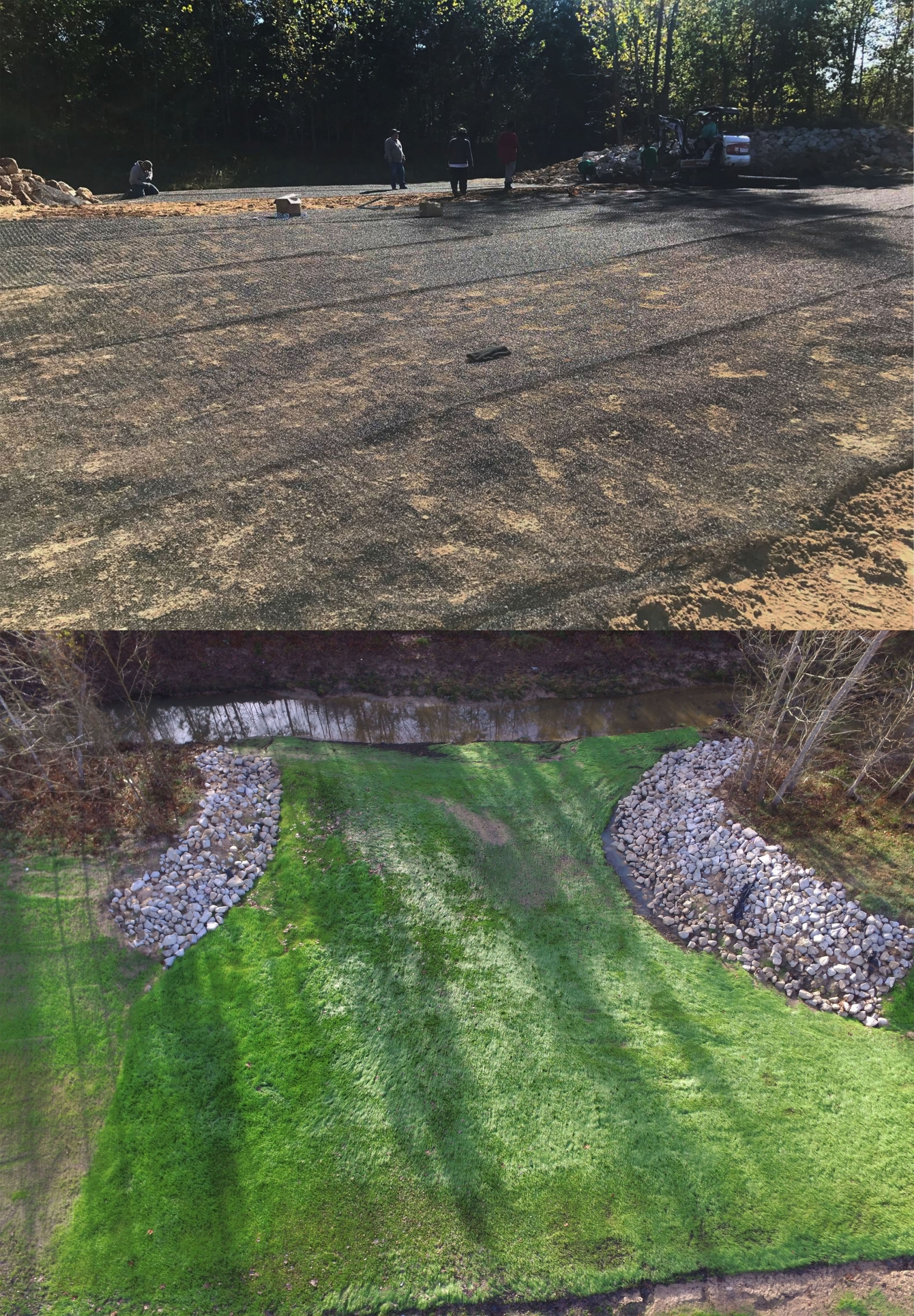 <b>Top:</b> The turf reinforcement mat encourages growth. <b>Bottom:</b> Two months after the application, Cayden Creek was establishing vegetation.
